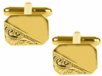 Dalaco 90-3000 Rectangle Third Engraved Design Gold Plate Cut Corner Cufflinks